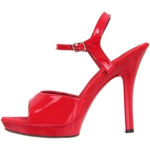 Pleaser Red Faux Patent Leather Lip Platform Heels